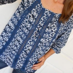 Lucky Brand Top Printed Peasant Blouse Size XS